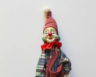 Vintage Miniature Resin Clown Magnet 1980s