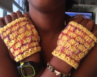 Hand warmers hand knit