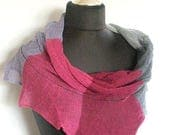 Linen Scarf Light Dark Gray Purple Violet Pink Burgundy Infinity Scarf Cowl Wrap