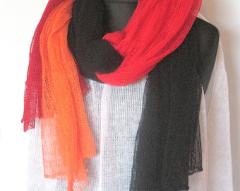 Two Colors Linen Scarf Set Natural Linen Scarf Shawl Wrap Stole Orange Red Burgundy Black Organic Spring