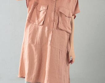 Women long shirt linen Loose Fitting shirt in rubber pink/ black