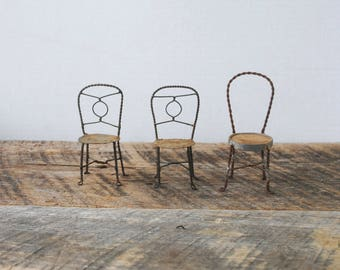 Three Vintage Ice Cream Parlor Miniature Doll House Chairs