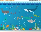 20% OFF SALE Sharks Whale Under the Sea Fabric Decal, Peel and Stick REUSABLE Fish Wall Decal -390