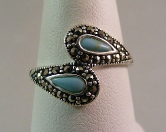 Vintage Marcasite and Faux Turquoise Ring in Sterling Silver.....  Lot 5262