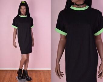 80s Black and Green Tshirt Dress/ Medium/ 1980s/ Oversized