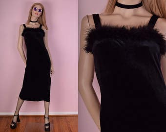90s Feather Trim Black Velvet Dress/ Small/ 1990s/ Tank/ Sleeveless