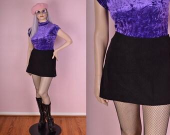 90s Black Mini Skirt/ Large/ 1990s