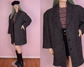 90s Houndstooth Wool Coat/ US 9-10/ 1990s/ Jacket