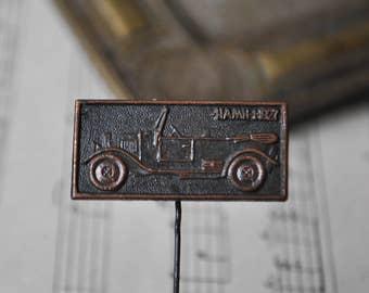 """Vintage Soviet Russian copper badge.'"""" Soviet Russian car NAMI-1 1927"""""""