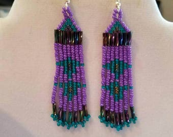 Native American Style Seed Beaded Purple Turquoise Arrow Earrings Brick Stitch Gypsy Boho Southwester, Hippie, Tribal, Peyote  Ready to Ship