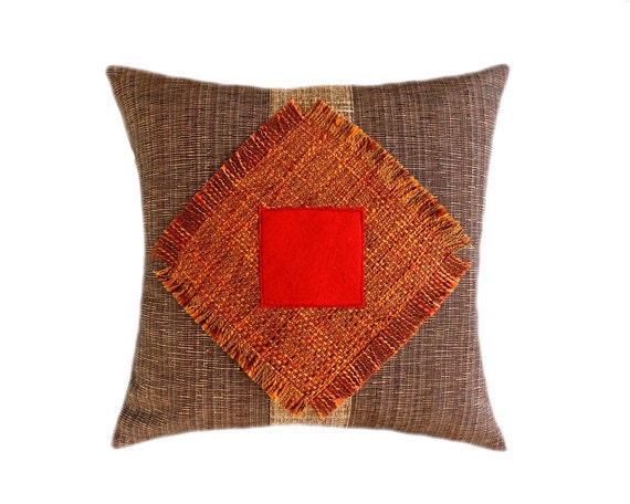 Red Brown Beige Throw Pillows : Decorative pillow case Orange Beige Brown Red color
