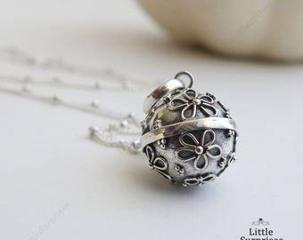Cute 12mm Daisy Flower Harmony Ball Sterling Silver Pendant Chain Necklace LS57