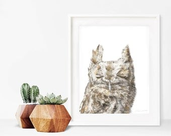 Burrowing Owl Print, Woodland Decor, Nursery Art, Nursery Decor, Owl Watercolor Print, Owl Decor