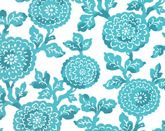 Two 96 x 50   Custom Curtain Panels  - Rod Pocket Panels  in 100% Cotton Fabric - Large Floral Mums - Coastal Blue - Turquoise