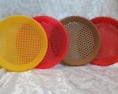 Vintage Plastic Paper Plate Holders - Basket Weave Pattern - Retro Picnic