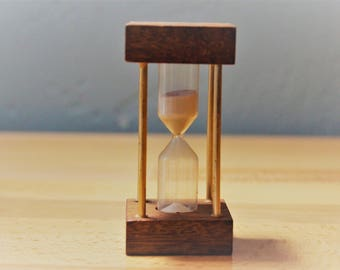 Wood and Brass Sand Dial Egg Timer Hour Glass
