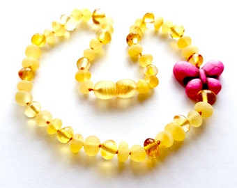 NATURAL BALTIC AMBER Unique Baby Teething Necklace with Butterfly