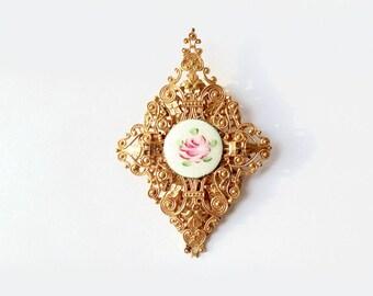Vintage Miriam Haskell Brooch Pendant Gold Flower Brooch Signed Designer Retro Fashion Jewelry