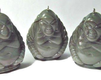 Vintage Jumbo Faux Marbelized Old Jade Buddha Pendant Pd705