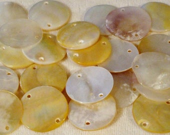 28 Genuine Gold Lip Iridescent Shell Rounds 30MM