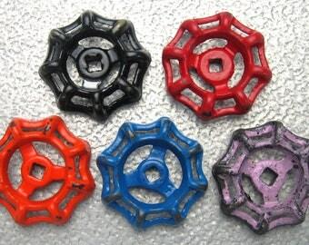 Industrial Steel - Cast Iron Valve Handles, Steam punk,  Assemblage, Garden, Collection of 5 Heavy Duty