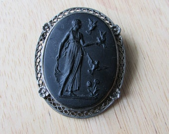 Vintage Black Faux Lava Cameo Brooch / Necklace Pendant in silver frame - Goddess with Birds, Greek Goddess, mythology, spiritual, healing