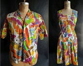 1970s Tropical Face Print Cotton Honeymooner Set / Matching Set / His and Hers