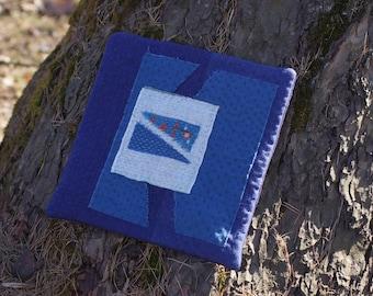 Blue sashiko boro table coaster mat