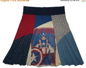 2 DAY SALE Captain America Plus Size 1X 2X Upcycled Hippie Skirt Women's recycled clothing from Twinkle