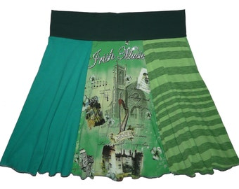 Plus Size 1X 2X Saint Patrick's Day Shorter Style Upcycled Skirt Women's recycled t-shirt clothing from Twinkle