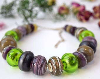 Lampwork necklace, artisan necklace, bohemian summer necklace, murano glass bead necklace, sra lampwork, boho necklace