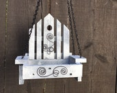 Bird Feeder Handmade White Swing Chair Feeder for Bird's Seed Trough Outdoor Garden Birds Feeding Tray, Item #473354218
