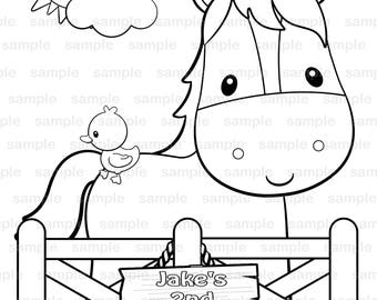 Personalized Printable Farm Birthday Party Favor Childrens Kids Coloring Page Activity PDF Or JPEG File