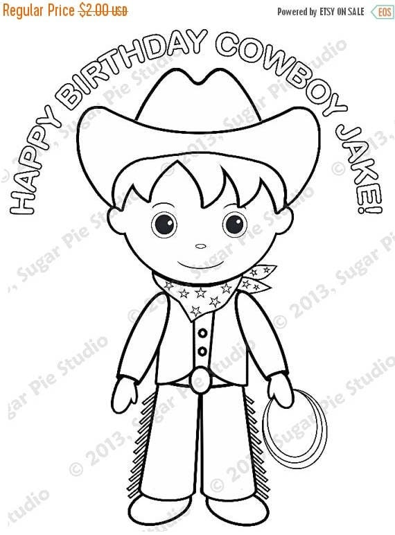 ON SALE Personalized Printable Cowboy Birthday Party Favor childrens kids coloring page book activity PDF or Jpeg file
