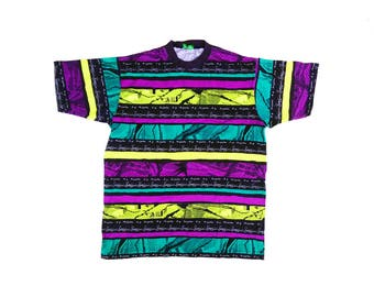 Wicked 80s Bossini Glitch Pattern Striped Allover Print Surfer T-Shirt - XL