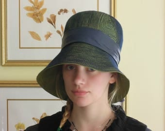 Vintage 1960's Blue Green Mod Hat / Otto Lucas Hat / Bond Street London / Stitched Straw Hat / Wide Brim Hat / Leather Band