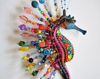 Seahorse wall sculpture,nautical home decor,whimsical wall sculpture,seahorse beach art