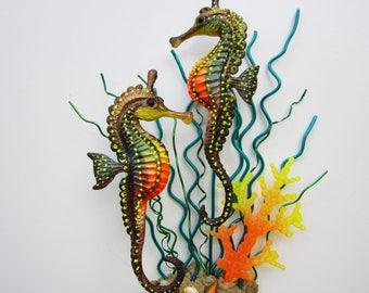 Seahorse wall decor,nautical home decor,seahorse art, seahorse sculpture