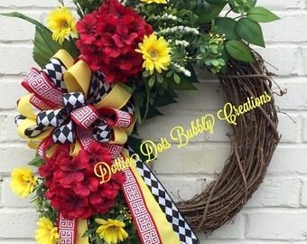 Summer/Everyday Floral Grapevine Wreath, Summer Wreath, Everyday Wreath, Grapevine Wreath, Monogram Wreath