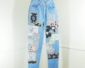 Spring Fling Sale Vintage  80s Jordache  stone washed high waist patchwork jeans size small