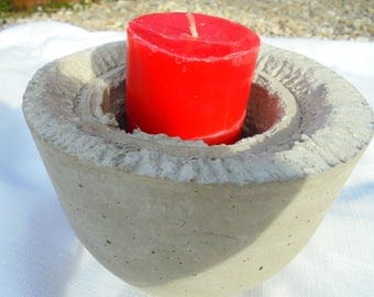Sculpured Rustic Stone Candle Holder, FREE Shipping