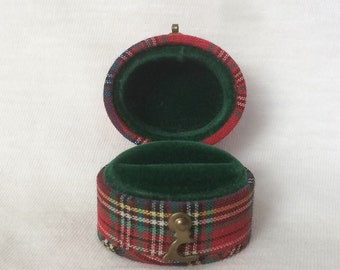 Red Plaid Ring Box Scotch Fabric Wedding Green Velvet Display Case Vintage Antique Victorian UK