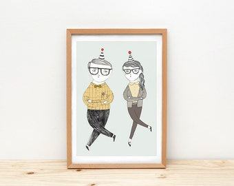 Print by Depeapa - Dancing illustration - 8 x 11.5 - A4