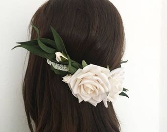 Cara Luxury Ivory roses and foliage half head hair comb - flower crown - bride - flower girl - wedding