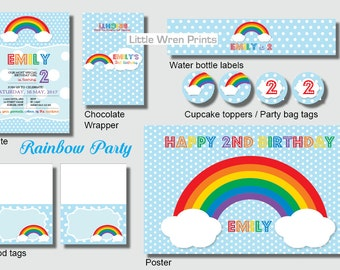Rainbow Party Pack, Invite, Cupcake topper, water bottle labels, Printables, Invitation, DIY Invitation, Digital File, Downloadable