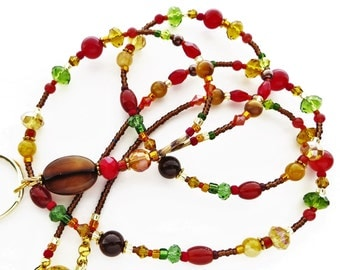 AUTUMN ELEGANCE- Beaded ID Lanyard- Agate Gemstones, Czech Pearls, and Sparkling Crystals (Magnetic Clasp)