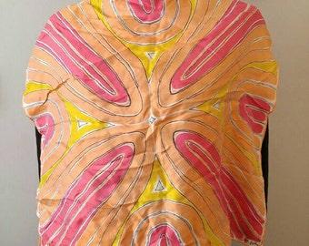 Vintage Vera Neumann square scarf orange
