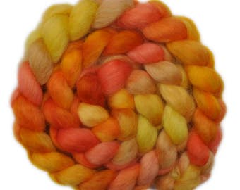 Hand painted spinning fiber - Wensleydale wool combed top roving - 4.0 ounces - Forging Copper 2