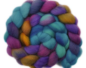 Hand painted roving - Shetland wool spinning fiber - 4.0 ounces - Dire Warning 2