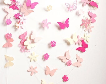 Pink butterfly and flowers paper garland